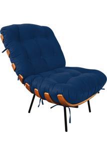Poltrona Costela Suede - D'Rossi Azul Marinho