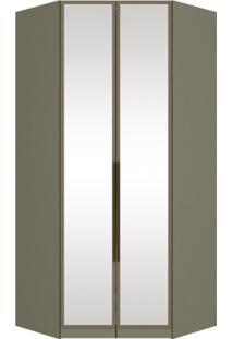 Módulo Para Closet Canto Com Espelho 2 Portas Iluminação Interna Puxador Bronze Exclusive Henn Duna