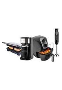 Kit Cadence Black Cook Cafeteira + Mixer + Grill + Fritadeira