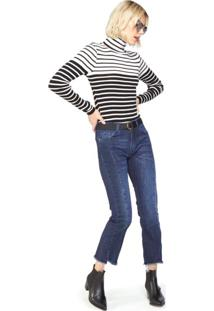 Calça Jeans Reta Com Reservas