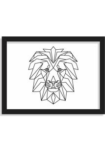 Quadro Decorativo Line Drawing Leão Preto - Grande