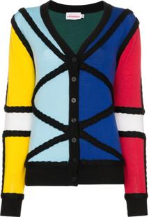 Charles Jeffrey Loverboy Cardigan Color Block De Tricô - Estampado