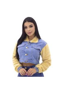 Jaqueta Jeans Feminina Cropped Manga Em Pelos Sal E Pimenta