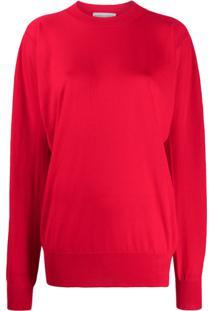 Bottega Veneta Suéter Drapeado Com Decote Careca - Vermelho