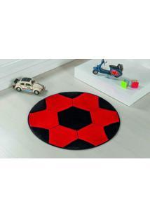 Tapete Antiderrapante Formato Bola Vermelho/Preto 0,65 Cm