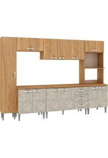 Cozinha Completa Master Com Tampo Cm06T Nogal/Concreto - Fellicci