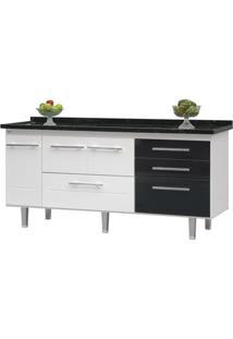 Gabinete Para Cozinha Em Mdf Life 180Cm Branco E Preto