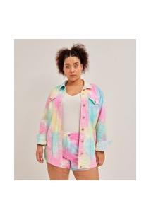 Jaqueta Alongada Em Sarja Tie Dye Curve & Plus Size   Ashua Curve E Plus Size   Multicores   G