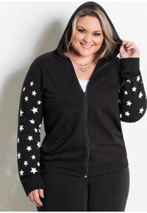 Jaqueta Com Capuz Preta Com Estrelas Marguerite