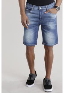 Bermuda Jeans Skinny Com Algodão + Sustentável Azul Médio