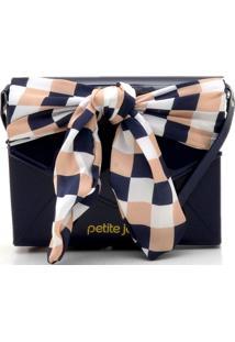 Bolsa Petite Jolie Aplicação De Tecido Azul-Marinho