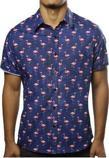 Camisa Camaleão Urbano Flamingos Azul-Marinho