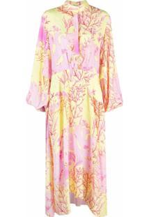 Stella Mccartney Vestido Longo Com Estampa De Coral - Amarelo