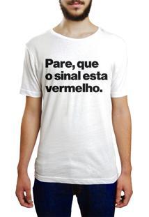 Camiseta Hunter Pare, Sinal Vermelho Branca