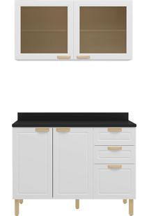 Cozinha Modulada 3 Peças Com Tampo E Nevada 5924Tp-Multimóveis - Branco Premium