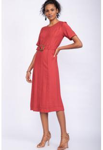Vestido Midi Pespontos Fivela Madeira Vermelho-42