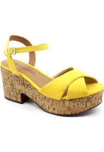 Sandália Plataforma Off Line Feminina - Feminino-Amarelo