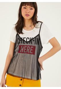 "Camiseta ""Check-In Here"" - Off White & Vermelha- Poppop Up"
