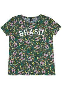 Blusa Feminina Estampada Em Malha Flamê Para Torcer Pelo Brasil