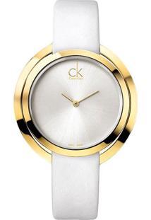 Relógio Calvin Klein Pulseira De Couro Branco