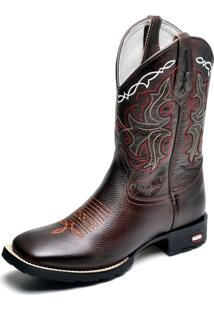 Bota Clube Do Sapato De Franca Country Texana Floral Café