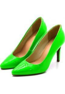Sapato Scarpin Salto Alto Fino Em Napa Verniz Verde Neon