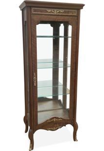 Cristaleira Florence Vitrine 1 Porta Madeira Maciça Marchetaria Design Clássico