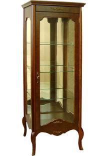 Cristaleira Florence Vitrine 1 Porta Personalizado Madeira Maciça Detalhe Em Marchetaria Design Clássico