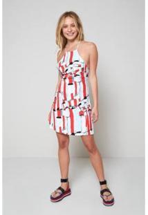 Vestido Est Basalt Est Basalt - Oh, Boy! Feminino - Feminino-Branco+Vermelho