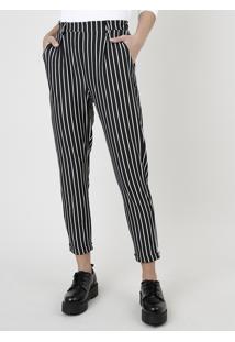 Calça Feminina Listrada Cintura Alta Com Bolsos Preta