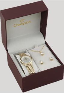 Kit De Relógio Analógico Champion Feminino + Colar + Brinco - Ch24857B Dourado - Único