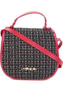 Bolsa Petite Jolie Transversal Tweed Feminina - Feminino-Vermelho+Preto
