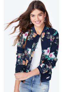 Jaqueta Estampa Floral Azul Escuro