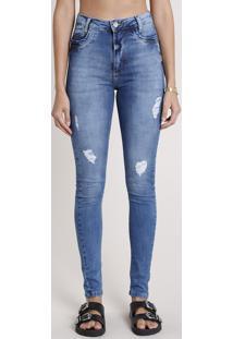 Calça Jeans Sawary Skinny Pull Up Cintura Alta Destroyed Azul Médio