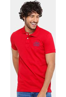 Camisa Polo Rock & Soda Piquet Bordado Contraste 22377 - Masculino-Vermelho