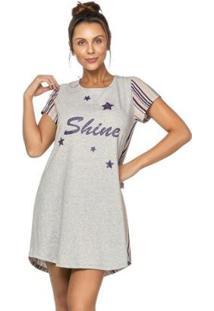 Camisola Stripes And Stars Em Algodão Feminina - Feminino-Creme