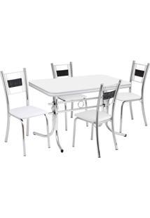 Conjunto De Mesa Com 4 Cadeiras Katia Prata E Branco