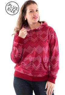 Blusão Moletom Konciny Canguru Plus Size Vermelho