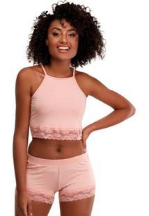 Pijama Short Doll Cropped Viscolycra Feminino Luna Cuore Premium