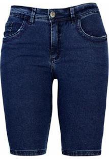 Bermuda Pau A Pique Jeans Jeans Feminina - Feminino-Azul