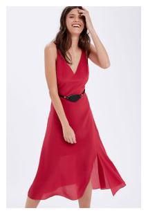 Vestido Seda Alça C/ Cinto Pedra Rosa Cherry