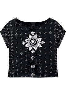 Blusa Malwee Floral Ampla Feminina - Feminino-Preto