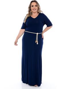 Vestido Longo Arimath Azul Marinho Com Cordão Azul