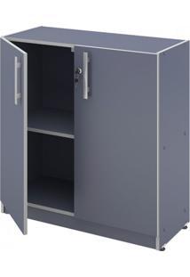 Armário Baixo Para Escritório 2 Portas Pop 67Cm Plata Móveis Azul/Cinza