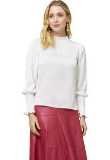 Blusa Mx Fashion Mangas Longas Lissandra Off White - Off-White - Feminino - Poliã©Ster - Dafiti