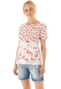 Blusa Manga Curta Estampa Flamingos Com Laço Costas