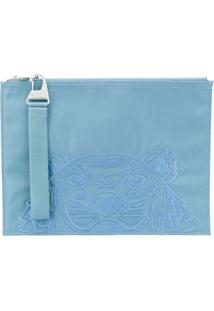 Kenzo Embroidered-Motif Clutch - Azul