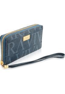 Carteira Feminina Jeans Azul Estampado Com Monograma Vivara