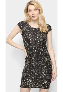Vestido Ouro Puro Tubinho Curto Estrelas - Feminino-Preto