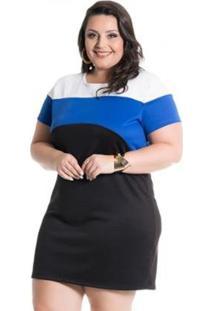 Vestido Scuba Miss Masy Plus Size - Feminino-Preto